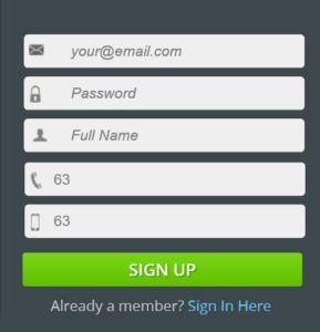 IceLotto Sign Up Form