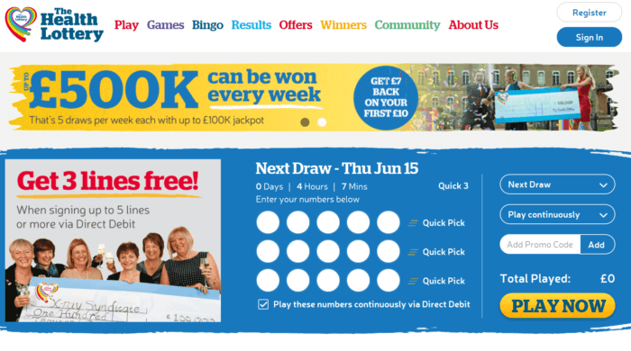 Health Lottery Website