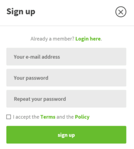 LottoPark registration form