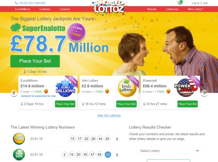 Lottoz website