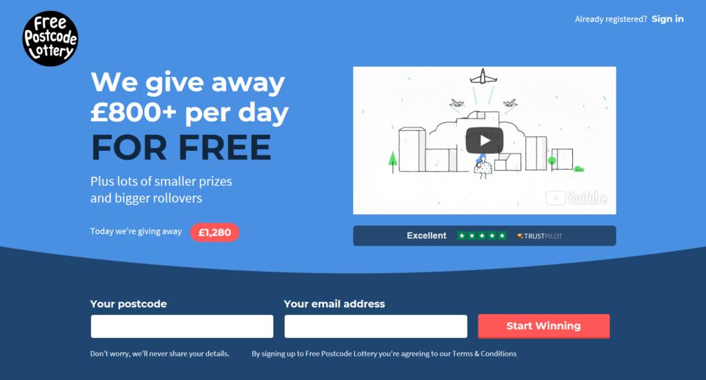 Free Postcode Lottery website
