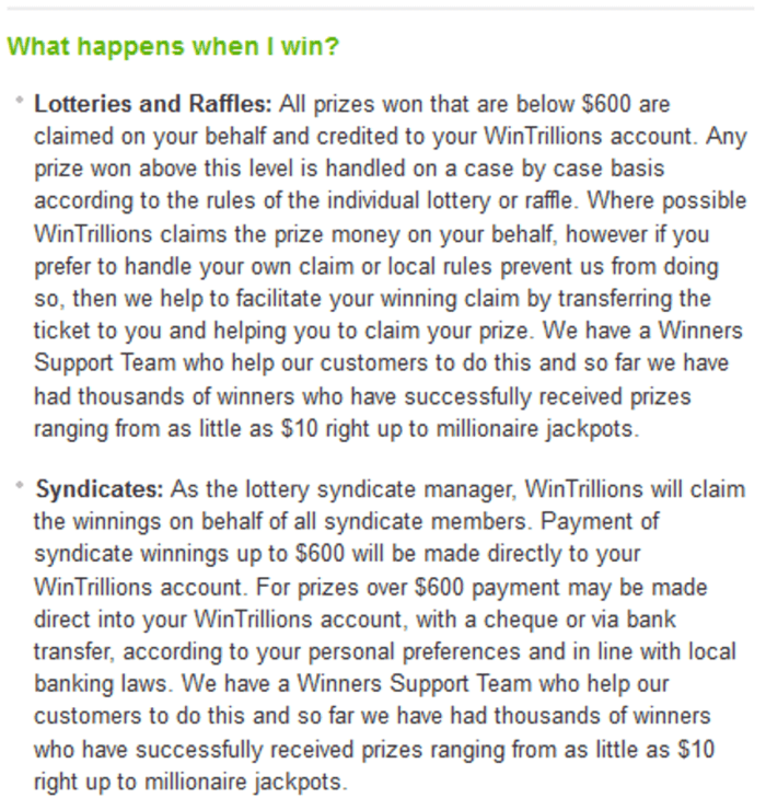 wintrillions vs lotto agent prize collection procedure