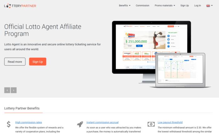 Lottery Partner website landing page