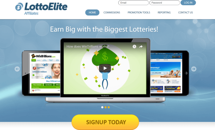 LottoElite Affiliates website landing page