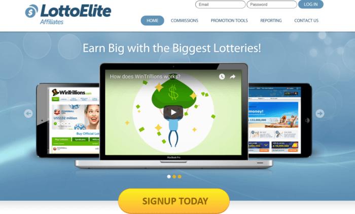 LottoElite Affiliates website landing page