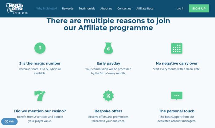 MultiLotto Affiliates website landing page