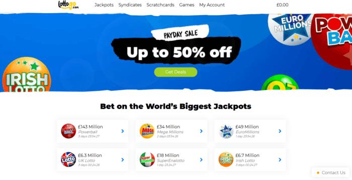 Screenshot of LottoGo homepage