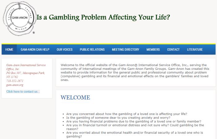 Gam-Anon landing page