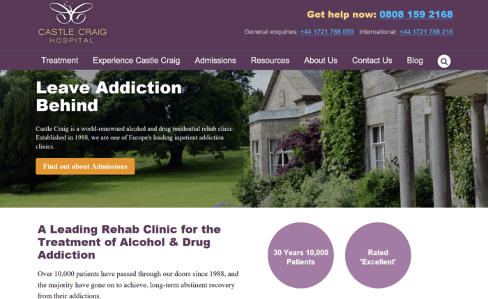 Castle Craig hospital for addiction treatment
