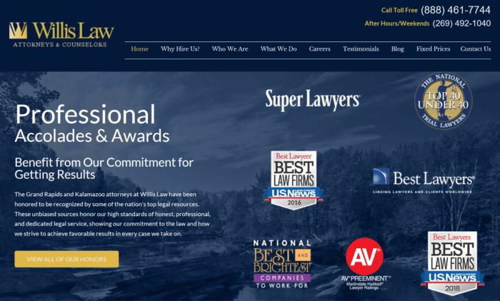 Willis Law's website