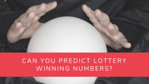 Predicting lotto numbers article banner with crystal ball and hands