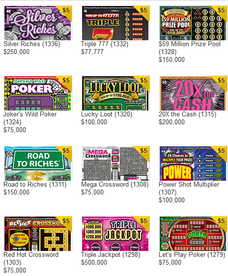 CA Lottery sample scratcher games