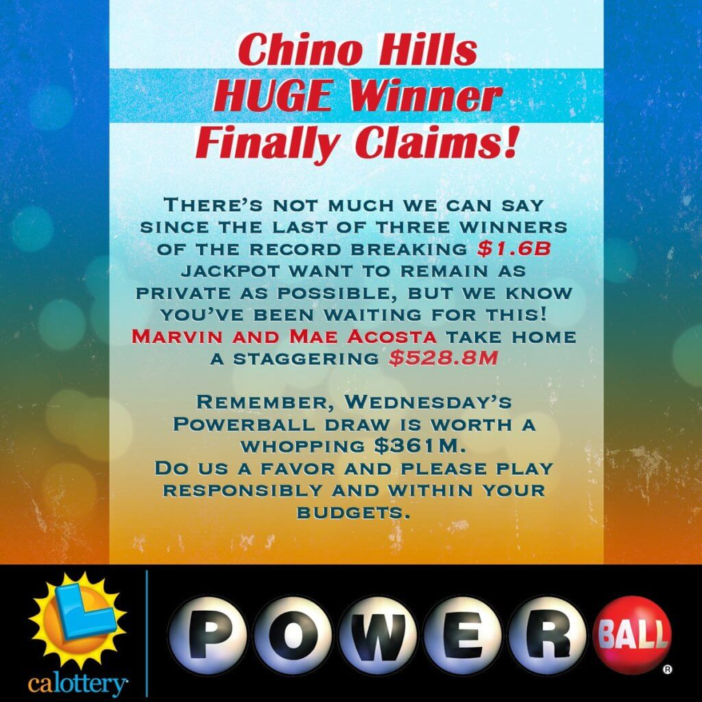 California Lottery announcement about Marvin and Mae Acosta