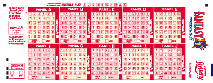Florida Lottery Fantasy 5 playslip