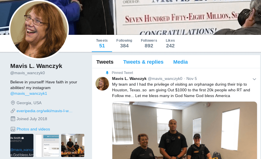 Fake Mavis Wanczyk Twitter Instagram Facebook accounts
