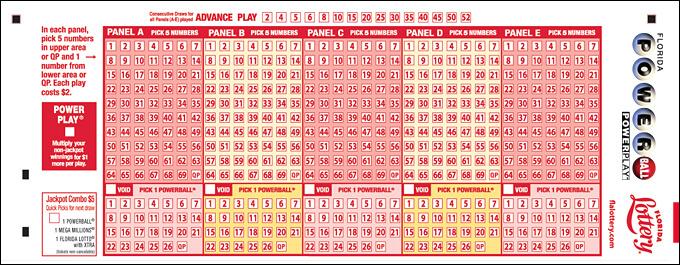 Sample Powerball ticket playslip