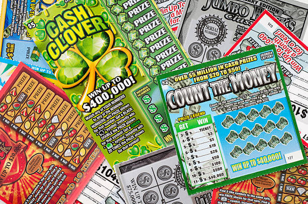 Pile of scratch-off lottery cards