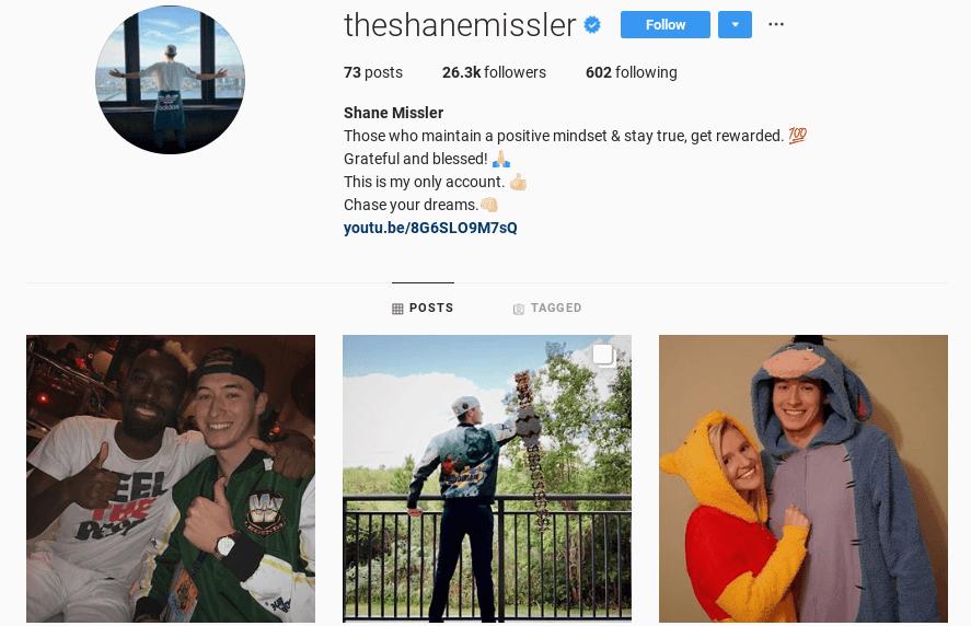 Shane Missler Instagram social