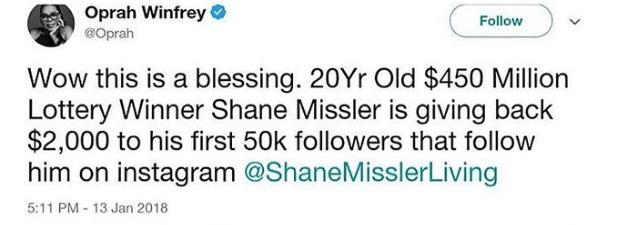 Shane Missler Oprah tweet instagram