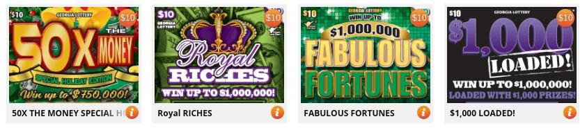 Georgia Lottery scratchers