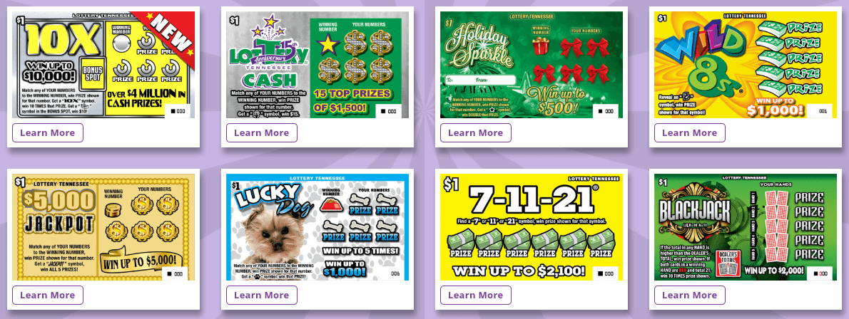 Tennessee Lottery scratch off instant games