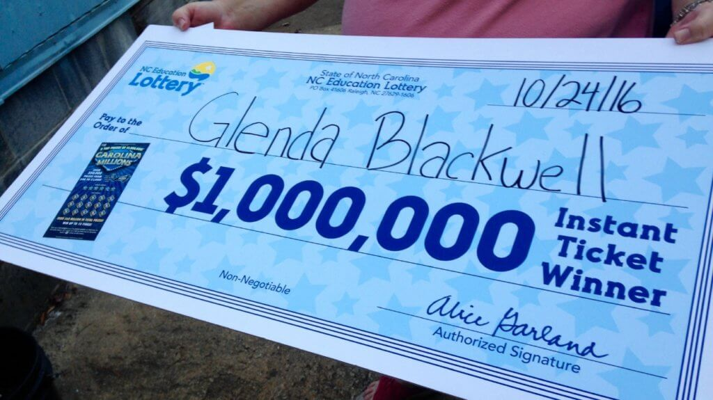 Glenda Blackwell North Carolina lottery prize check