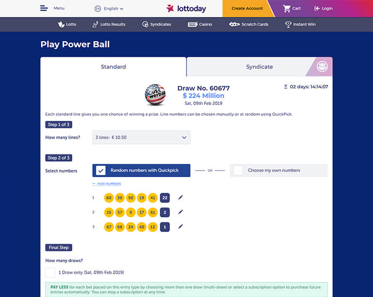 LottoDay Powerball ticket purchase
