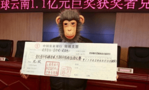 China costumed lottery winner monkey mask Yunan