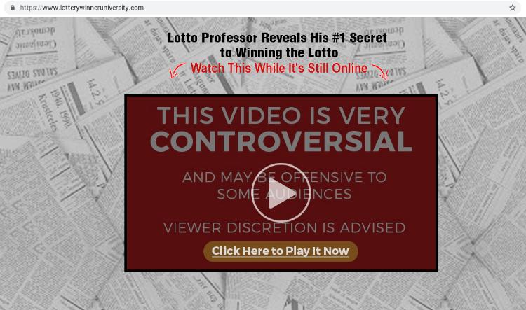 Lottery Winner University website