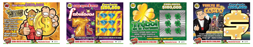Mexican instant scratch and win tickets