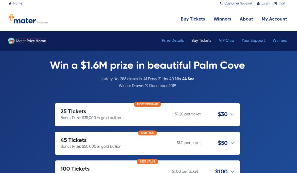 Mater Prize Home website