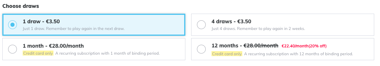 Draw pricing options